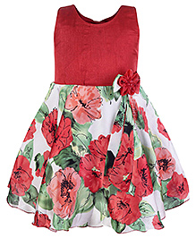 Softouch Sleeveless Frock with Flower Motif - Red