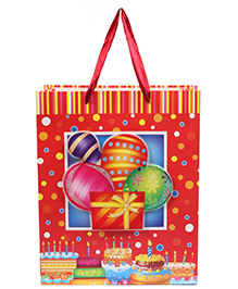 Fab N Funky Balloons Print Gift Bag- Red