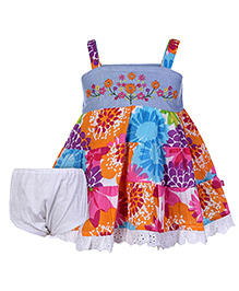 Little Kangaroos Sleeveless A Line Frock with Bloomer - Flower Print