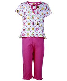 Little Half Sleeves Night Suit Pink - Floral Print