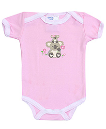 Honey Bunny Pink Half Sleeves Onesies - Teddy Bear Print