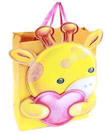 Fab N Funky Giraffee Kid With Heart Print Gift Bag- Yellow
