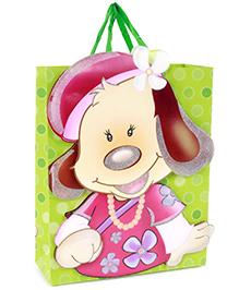 Fab N Funky Girl Bear Print Gift Bag- Green