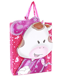 Fab N Funky Cow Face Print Gift Bag- Pink