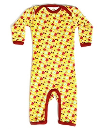 Earth Conscious Full Sleeves Romper Yellow - Fruits Print