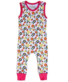 Earth Conscious Sleeveless Romper Organic Cotton - Flower Print