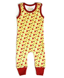 Earth Conscious Sleeveless Romper with Fruit Print - Yellow and Red