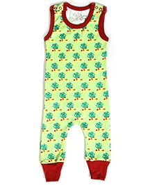 Earth Conscious Sleeveless Romper with Tree Print - Green and Red