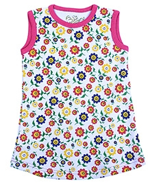 Earth Conscious Sleeveless A Line Frock Sunflower Print