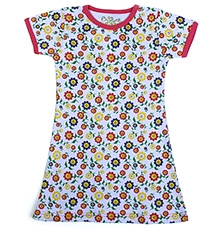 Earth Conscious Half Sleeves A Line Frock with Sunflower Print