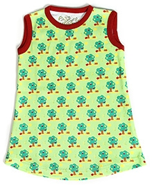 Earth Conscious Sleeveless A Line Frock with Tree Print - Green and Red