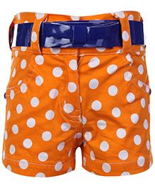 Little Kangaroos Orange Shorts - Dot Print