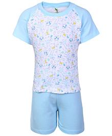 Cucumber Raglon Sleeves T Shirt And Shorts Blue - Giraffe Print