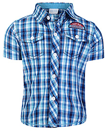 FS Mini Klub Half Sleeves Check Print Shirt - Blue