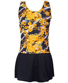 Bosky Sleeveless Orange Frock Style Swimwear - Flower Print