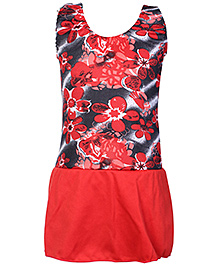 Bosky Sleeveless Red Frock Style Swimwear - Flower Print