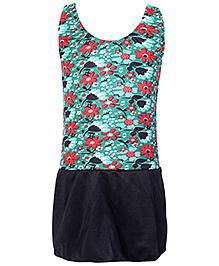 Bosky Swimwear Sleeveless Frock Style Swimwear Flower Print - Green