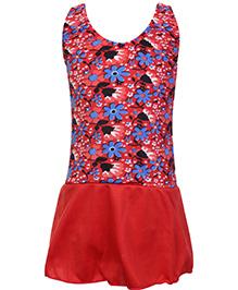 Bosky Swimwear Sleeveless Frock Style Swimwear Flower Print - Red