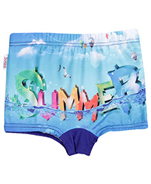 Bosky Swimwear Summer Print Swimming Trunks - Sky Blue