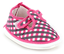 Littles Baby Girl Booties Check Print - Pink
