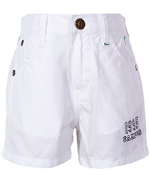 Palm Tree White Shorts With Belt Loops