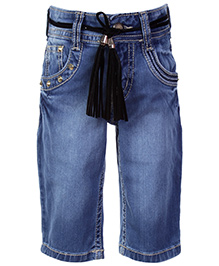 Gini & Jony Pedal Pushers With Belt - Blue