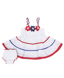 Sapphire Singlet Chicken Frock With Bloomer - Red and White
