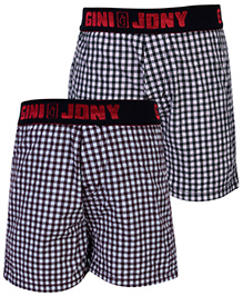 Gini & Jony Check Printed Boxers - Set Of 2
