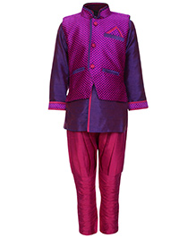 SAPS Full Sleeves Kurta With Jodhpuri Style Pajama - Purple