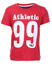 Gini & Jony Half Sleeves T Shirt Red - Athletic 99 Print