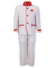 SAPS Cream Full Sleeves Party Suit With Red Buttons
