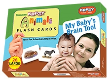 Krazy Common Animals Flash Cards My Baby Brain Tool - 26 Large Flash Cards -