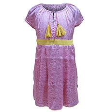 Herberto Pink Short Sleeves Frock With Drawstring