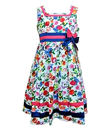Herberto White Sleeveless Party Frock With Bow