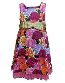 Herberto Sleeveless Party Dress With Multicolor Roses Print