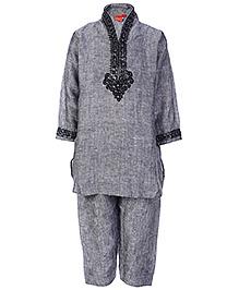 Ethniks Neu Ron Full Sleeves Kurta Pajama Set - Grey