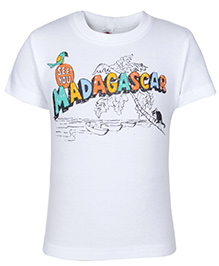 Zero Half Sleeves T Shirt White - Madagascar Print