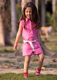 Nino Bambino Short Sleeves Collared Jumpsuit With Belt - Pink