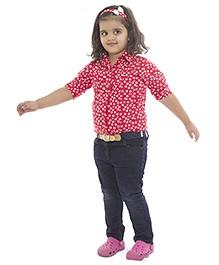 Nino Bambino Full Sleeves Shirt Red - Flowers Print