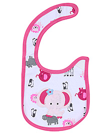 Carters Elephant Print Baby Bib- Pink and White