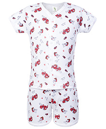 Cucumber Half Sleeves T Shirt And Shorts White  - Vehicle Print