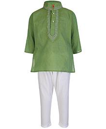Ethniks Neu Ron Full Sleeves Kurta And Pajama Set - Green