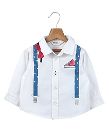 Beebay Full Sleeves Suspender And Bow Printed Shirt - White