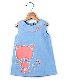 Beebay Sleeveless Chambray Frock Blue - Bear Print