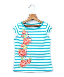 Beebay Stripes and Floral Print Cap Sleeves T Shirt- Blue and White