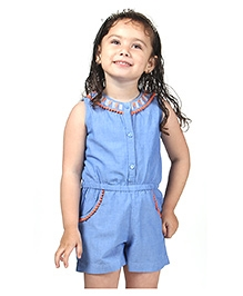 Beebay Chambrey Embroidered Jumpsuit- Blue