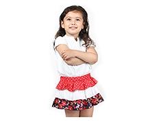 Beebay 3 Tier Printed Ruffle Skirt- Red