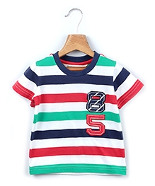 Beebay Half Sleeves T Shirt Multi Color Bold Stripes Pattern