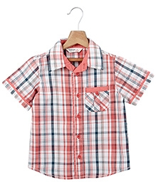 Beebay Half Sleeves T Shirt with Check Print - Peach and Blue