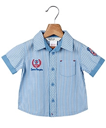 Beebay Half Sleeves Badge Shirt Blue - Stripes Print